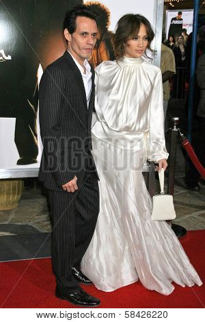 WESTWOOD, CA - DECEMBER 07: Marc Anthony and Jennifer Lopez at the premiere of