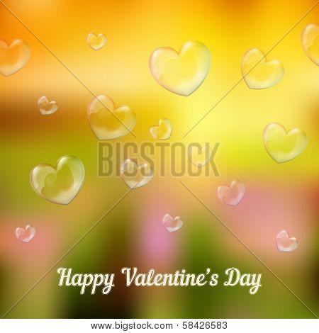 'happy valentine's day'. Heart-shaped soap bubbles
