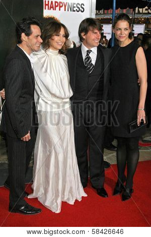 WESTWOOD, CA - DECEMBER 07: Marc Anthony and Jennifer Lopez with Tom Cruise and  at the premiere of