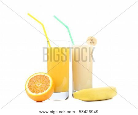 Juices of orange and banana. Fruits.