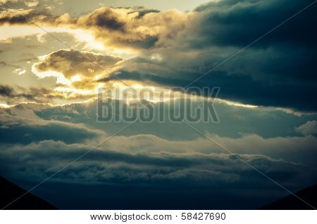 Sunset Dark Sky Clouds Twilight Scenery Nature Landscape