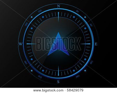Blue compass with 3 D arrow pointer