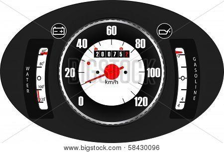 Retro car dashboard (vector)