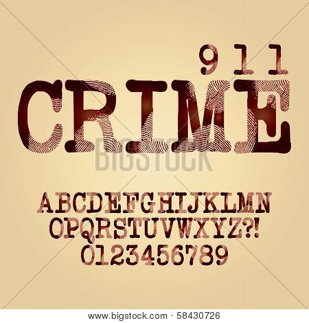 Abstract Criminal Alphabet And Digit Vector