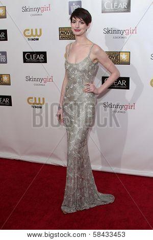 Anne Hathaway at the 18th Annual Critics' Choice Movie Awards Arrivals, Barker Hangar, Santa Monica, CA 01-10-13