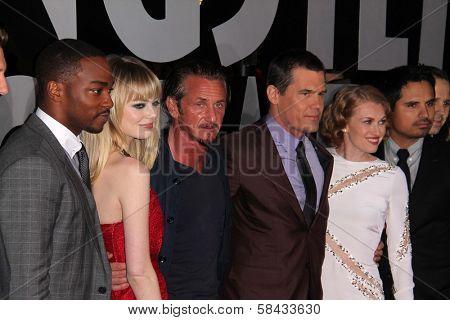 Anthony Mackie, Emma Stone, Sean Penn, Josh Brolin, Mireille Enos, Michael Pena at the