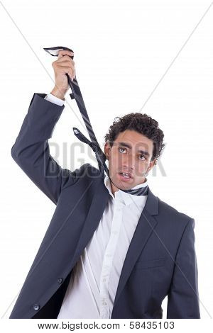 Exhausted Businessman Hanging Himself On Tie