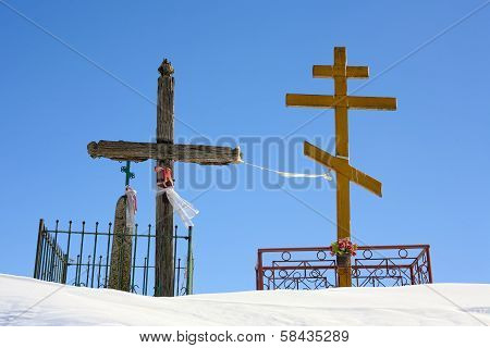 Crucifix and orthodox cross.
