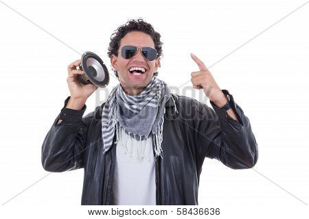 Man In A Leather Jacket With Speaker