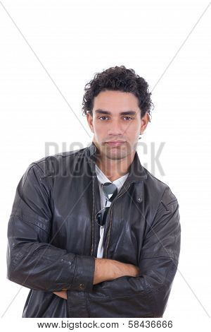 Man In A Leather Jacket With Sunglasses Possing
