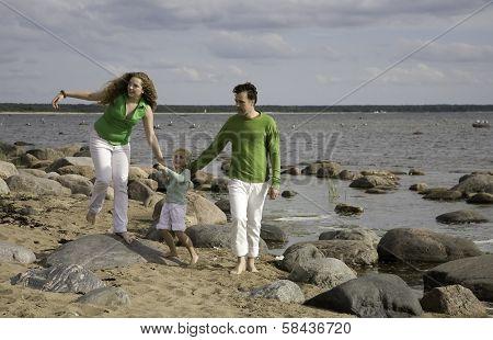 fammily on the beach