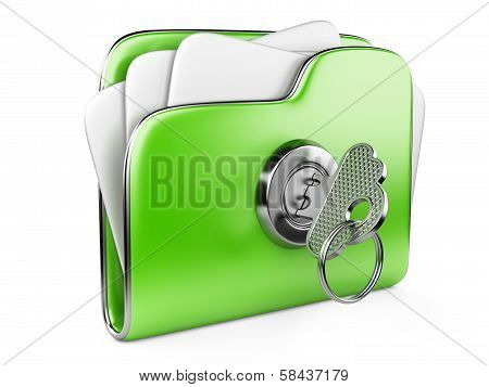 Secure Files. Green Folder With Lock And Key. Ecological Concept