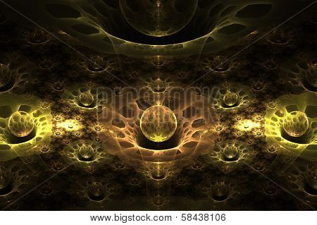 Crystalline Wormholes Abstract Fractal Design