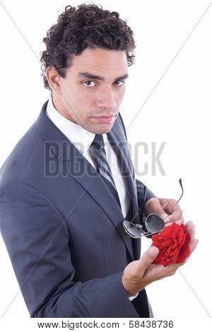 Seducer In Suit Holding Rose