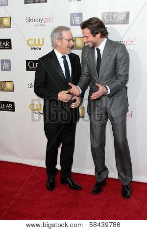 Steven Spielberg, Bradley Cooper at the 18th Annual Critics' Choice Movie Awards Arrivals, Barker Hangar, Santa Monica, CA 01-10-13
