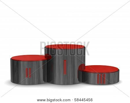 Black Reflective Cylindrical Sports Victory Podium With Red Roman Numerals. Front View
