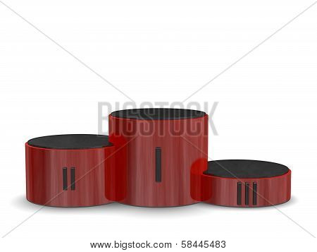 Red Reflective Cylindrical Sports Victory Podium With Black Roman Numerals. Front View