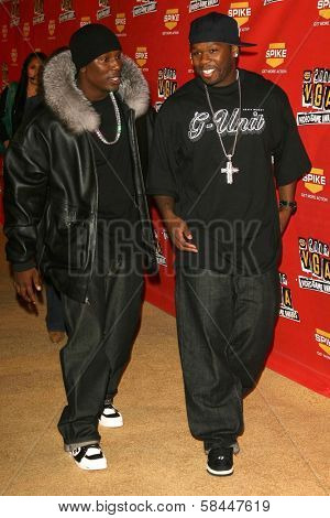 Tyrese and 50 Cent at Spike TV's 2006 Video Game Awards. The Galen Center, Los Angeles, California. December 8, 2006.
