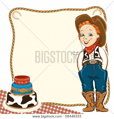 Cowboy Child Birthday Background With Cake