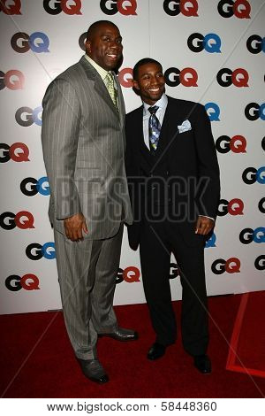 LOS ANGELES - NOVEMBER 29: Magic Johnson and his son at the GQ Man of the Year Awards at Sunset Tower Hotel November 29, 2006 in Los Angeles, CA.