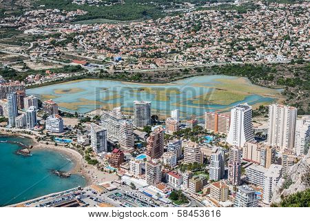 High angle view of the marina in Calpe Alicante Spain