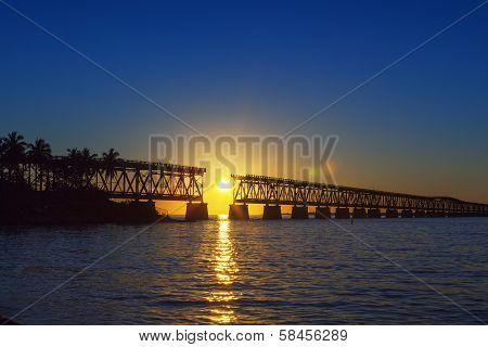 Colorful Sunset With Broken Bridge