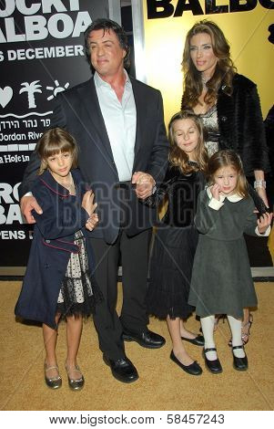 HOLLYWOOD - DECEMBER 13: Sylvester Stallone and Jennifer Flavin with family at the world premiere of
