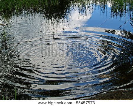 Ripples On A Pond With Reflections Of Clouds And Trees