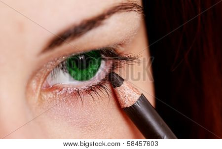 Pretty Lady Wearing Makeup For Eyes