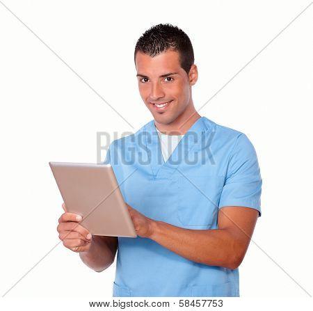 Handsome Nurse Man Using His Tablet Pc