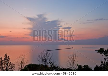 Sunset Over Lake With Trees