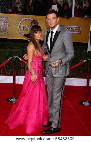 Lea Michele, Cory Monteith at the 19th Annual Screen Actors Guild Awards Arrivals, Shrine Auditorium, Los Angeles, CA 01-27-13