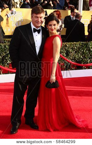 Alec Baldwin and wife Hilaria Thomas at the 19th Annual Screen Actors Guild Awards Arrivals, Shrine Auditorium, Los Angeles, CA 01-27-13