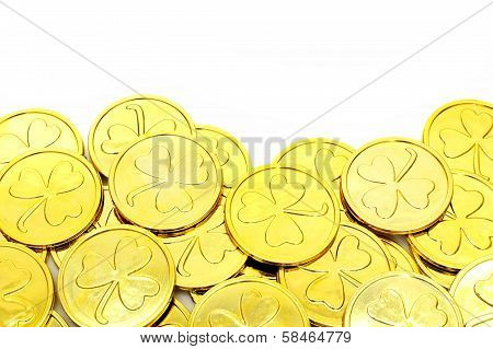 St Patricks Day gold coin border