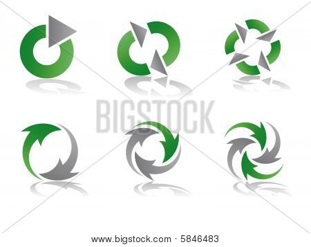 Green and Grey Recycling Vector Logo Designs