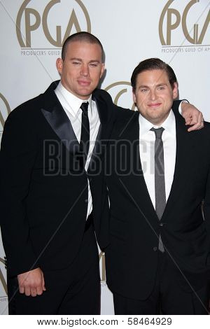 Channing Tatum, Jonah Hill at the 24th Annual Producers Guild Awards, Beverly Hilton, Beverly Hills, CA 01-26-13