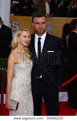 Naomi Watts, Liev Schreiber at the 19th Annual Screen Actors Guild Awards Arrivals, Shrine Auditorium, Los Angeles, CA 01-27-13