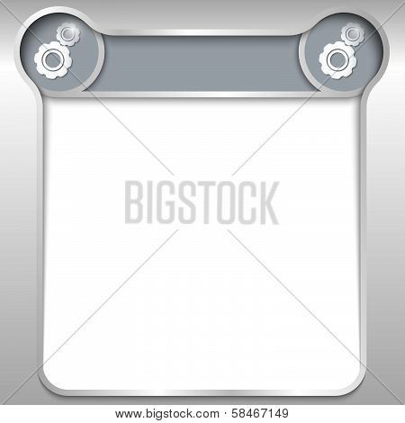 Silver Abstract Text Box With Two Cogwheels