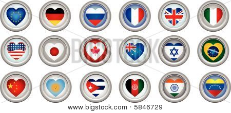 Buttons Heart Shaped Flags