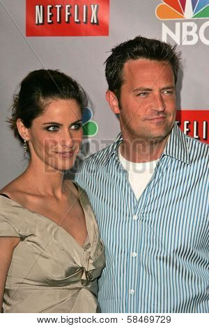 PASADENA - JULY 22: Amanda Peet and Matthew Perry at the NBC TCA Press Tour at Ritz Carlton Huntington Hotel on July 22, 2006 in Pasadena, CA.