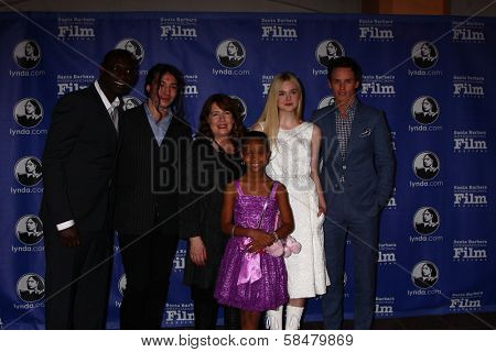 Omar Sy, Ezra Miller, Ann Dowd, Quvenzhane Wallis, Elle Fanning, Eddie Redmayne at the Santa Barbara International Film Festivals 2013 Virtuosos Award, Arlington Theater, Santa Barbara, CA 01-29-13