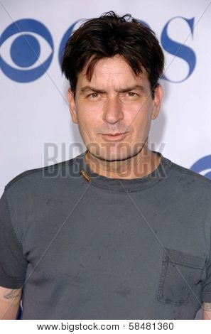PASADENA - JULY 15: Charlie Sheen at CBS's TCA Press Tour at The Rose Bowl on July 15, 2006 in Pasadena, CA.