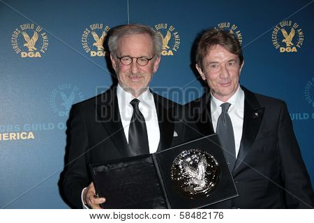 Steven Spielberg, Martin Short at the 65th Annual Directors Guild Of America Awards Press Room, Dolby Theater, Hollywood, CA 02-02-13