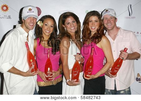 SANTA MONICA - JULY 23: Lauren Madden, Bridgetta Tomarchio, Corinne Saffell  at the Sexy Summer Soire Party by H.U.G.E benefiting Heal The Bay at AKWA Restaurant on July 23, 2006 in Santa Monica, CA.