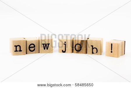 New Job Wording On White Background