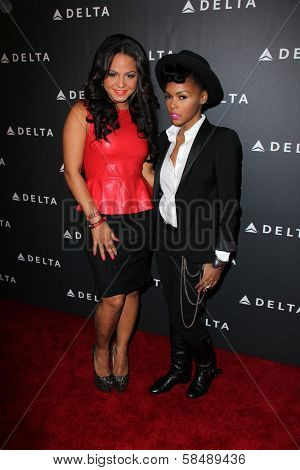 Christina Milian, Janelle Monae at Delta Airline's Celebration of LA's Music Industry, Getty House, Los Angeles, CA 02-07-13
