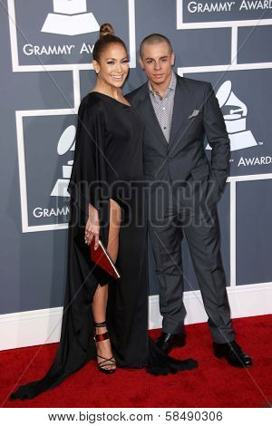 Jennifer Lopez, Casper Smart at the 55th Annual GRAMMY Awards, Staples Center, Los Angeles, CA 02-10-13