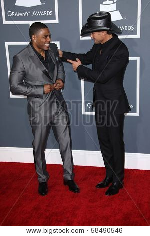 Nelly, Tim McGraw at the 55th Annual GRAMMY Awards, Staples Center, Los Angeles, CA 02-10-13
