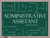 pic of polite  - Administrative Assistant Word Cloud Concept on a Blackboard with great terms such as professional secretary executive and more - JPG