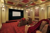image of home theater  - Theater in luxury home with plush red carpeting - JPG